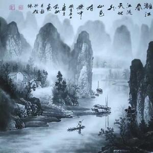 现为越世阁画院院长,中国艺术学会会员,艺宝在线特聘画家易剑赋(漓江春江晚)