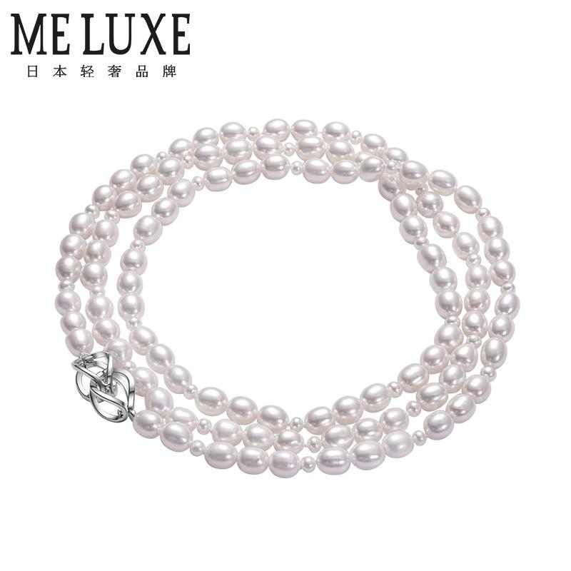 MELUXE   S925银 7-8mm米形天然淡水珍珠项链/天然淡水珍珠毛衣链 材质:淡水珍珠 规格:7-8MM 链长:约80CM