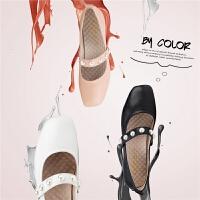 【3折再减80】Safiya/索菲娅春秋季新款方头平底玛丽珍女鞋单鞋SF81111125