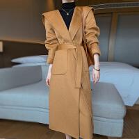 水波纹双面呢羊绒大衣女中长款连帽腰带宽松毛呢外套冬装新款呢子