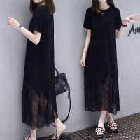 连衣裙女夏2019春新款韩版中长款宽松显瘦蕾丝拼接很仙的黑色长裙 黑色