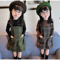 女童2019春装新款韩版儿童宝宝甜美格子背心裙+打底衫两件套4013