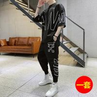 男t恤五分袖ins春夏季衣服韩版潮流2019新款圆领嘻哈两件套装潮牌