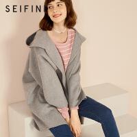【折】诗凡黎秋冬新款宽松中长款羊毛双面呢大衣学生毛呢外套女