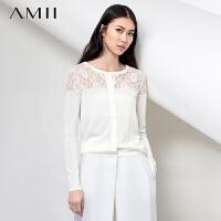 AMII[极简主义]春新圆领镂空蕾丝拼接大码开衫长袖针织衫11580105
