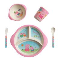 竹纤维儿童小猪佩琦餐具套装创意卡通饭碗宝宝分格餐盘防摔碗 5件