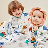 龙之涵婴儿睡袋春秋款夏季纯棉薄款纱布分腿宝宝儿童防踢被神器四季通用
