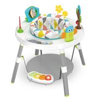 多功能钢琴健身架 婴儿跳跳椅哄娃多功能游戏桌宝宝脚踏钢琴健身架玩具0-12个月 浅灰色 多功能活动桌