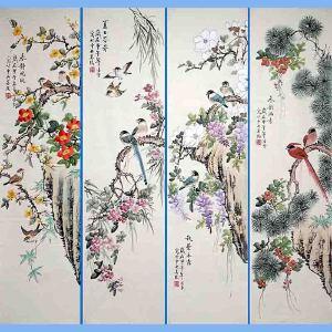 北京市美协会员,北京著名工笔画家凌雪(春夏秋冬)