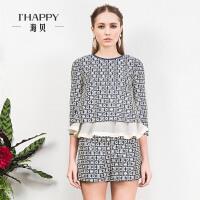 ihappy/海贝花边拼接下摆中式复古印花七分袖衬衫