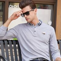 休闲丝光棉长袖POLO衫 男式T恤大码纯色长袖纯棉上衣保罗衫潮