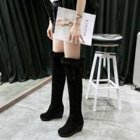 彼艾2017秋冬新款性感坡跟骑士靴保暖加绒高跟棉靴毛毛靴磨砂过膝靴长靴女靴子