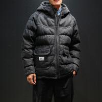 棉衣外套男士冬季ins潮流工装棉服加厚短款连帽牛仔冬装新款