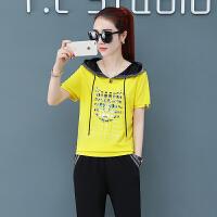 运动套装女夏2019新款韩版宽松大码短袖长裤休闲跑步服两件套显瘦