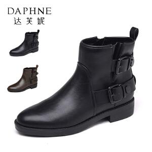 Daphne/达芙妮秋冬休闲粗跟女鞋个性圆头方扣短筒靴