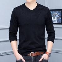 秋季韩版修身薄款毛衣男欧洲站纯色V领羊毛打底衫大码针织衫线衣