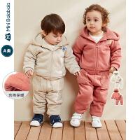 迷你巴拉巴拉婴儿长袖套装男女宝宝夹棉加绒两件套装2019冬季新款
