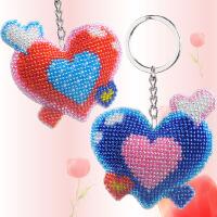 十字绣 爱心十字绣汽车钥匙扣吊坠小挂件珠绣自己绣珠子简单情侣款一对