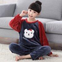女童珊瑚绒睡衣宝宝冬春秋公主法兰绒女孩儿童家居服套装