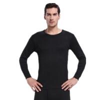 中老年人男士保暖内衣套装男土加绒加厚防寒棉毛衫爸冬季线衣线裤 黑色 T2