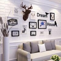 北欧式相框墙客厅现代简约照片墙餐厅创意鹿头字母组合实木相