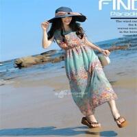 夏季新款雪纺连衣裙女装碎花波西米亚长裙背心裙海边度假沙滩裙潮