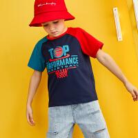 【99选3】巴拉巴拉旗下儿童上衣219夏季新款男童中大童时尚撞色短袖T恤潮B