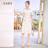 【券后预估价:204元】Amii极简法式仙女气质连衣裙夏季新配腰带露锁骨排扣修身裙子