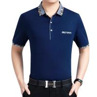 爸爸夏�b中年男士短袖T恤冰�z棉翻�I男�b夏季中老年人40-50�q上衣