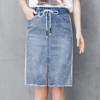 牛仔半身裙女系带高腰中长款2018夏季新款松紧腰浅色包臀一步裙薄 浅蓝色