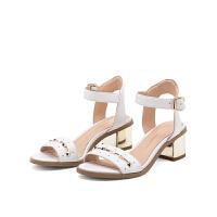 D:Fuse/迪芙斯新款羊皮露趾粗跟铆钉一字带女凉鞋DF72115332