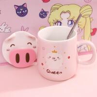韩版咖啡杯陶瓷马克杯带盖勺情侣水杯子男女学生办公室大容量水杯