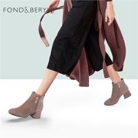 Fondberyl/菲伯������雅�壤���R蹄跟短靴女靴FB84116149