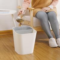 分类垃圾桶家用分隔干湿小防臭简约现代室内无盖厨房干湿分离脚踏脚踩垃圾桶干湿垃圾桶 泥红(大号) 白色桶