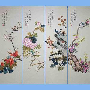 北京市美协会员,北京著名工笔画家凌雪(春夏秋冬)2