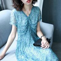 V领常规短袖胸口抽绳宽松腰印花桑蚕丝连衣裙IH3012 绿色