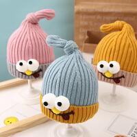儿童秋冬毛线3-6个月眼睛男孩女孩1-2岁针织帽