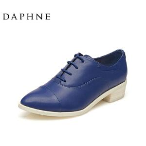 Daphne/达芙妮圆漾系列女鞋 秋韩版休闲尖头中低跟简约平底女单鞋