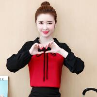 2019年秋冬季新款韩版大码洋气外穿假两件衬衫袖拼接针织衫上衣女