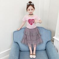 夏季新款女童蛋糕裙套装儿童短袖上衣+裙子女孩两件套
