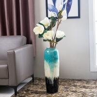 景德镇创意色釉落地陶瓷花瓶梦幻插花居家中式摆件手工工艺品花瓶