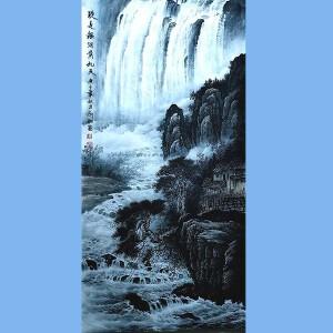 越世阁画院院长,中国艺术学会会员,艺宝在线特聘画家易剑赋(疑是银河落九天)