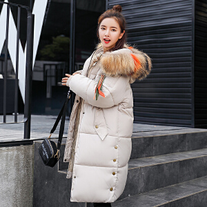 RANJU然聚2018秋季女装新品新款韩版大码连帽毛领百搭中长款棉服女外套