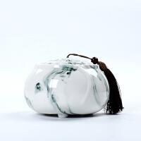 陶瓷茶叶罐小号茶罐储存罐大号水墨白瓷密封罐玉瓷装茶罐