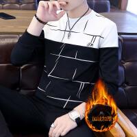 青少年保暖内衣男套装加厚加绒韩版青年男士秋裤秋裤圆领可外穿冬