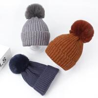 宝宝帽子秋冬季儿童简约保暖针织帽韩版毛线帽亲子套头帽