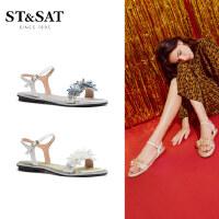 【券后价:246元】St&Sat/星期六2020夏季专柜同款一字式扣带甜美凉鞋女鞋潮SS02115250