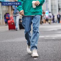 2.5折价:98;Lilbetter男士牛仔裤宽松直筒裤秋季潮流阔腿裤男生长裤港风裤子