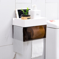 厕所纸巾盒卫生间厕纸免打孔抽纸手纸防水卷纸筒创意卫生纸置物架 白+咖啡