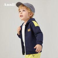 【活动价:184.5】安奈儿童装男小童针织外套短款2020春季新款印花宝宝休闲百搭上衣